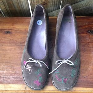 Camper Twins Embroidered Brown Suede Shoes 9
